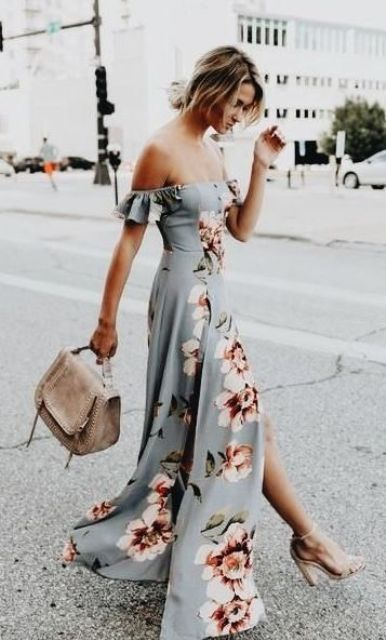 a flowy off the shoulder floral print wedding guest dress with a slit, nude shoes and a nude bag for a summer wedding