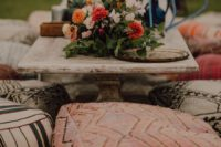 07 some poufs and ottomans will be a nice fit for a boho wedding reception and you may brign them from your home