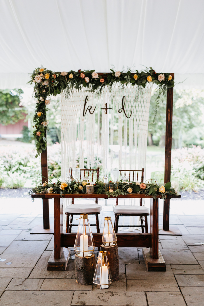 use your ceremony backdrop as a sweetheart table backdrop, so you won't have to pay for that