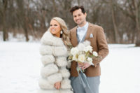 faux fur cover up for a winter bride