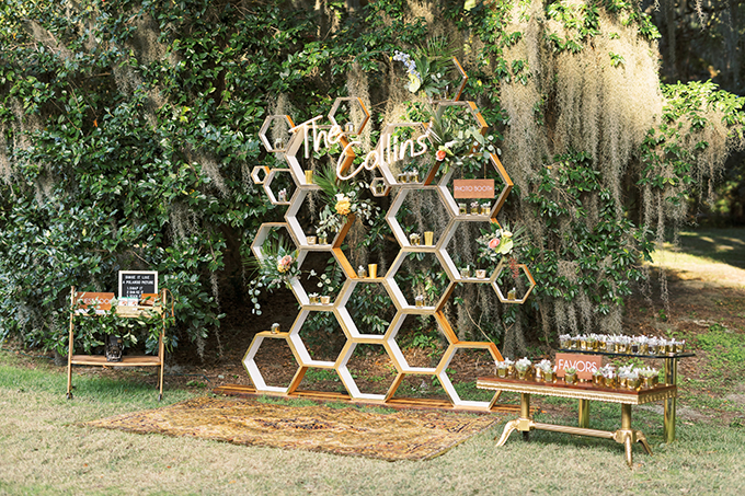This hex backdrop was also made by the couple and it added a mid-century modern feel