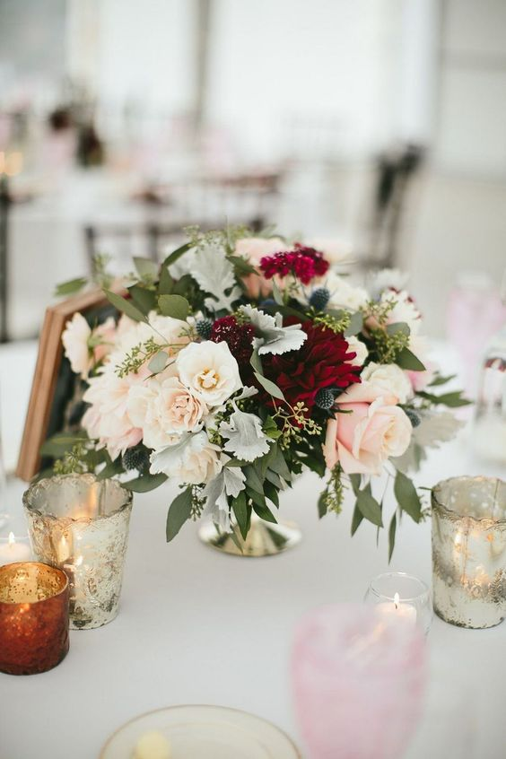 your bridesmaids' bouquets can double as floral centerpieces, it will save much money if you have many tables