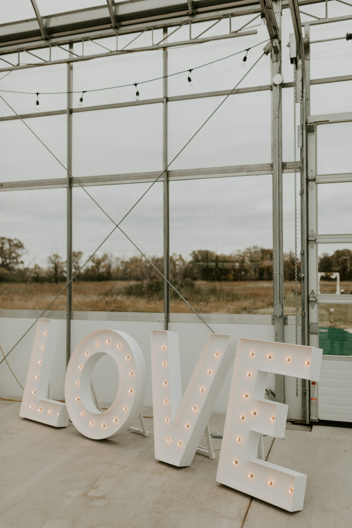 Oversized marquee letters are a nice idea for wedding decor