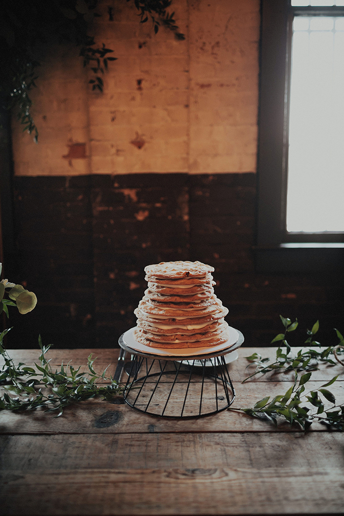The wedding cake was a multi-tier cookie one