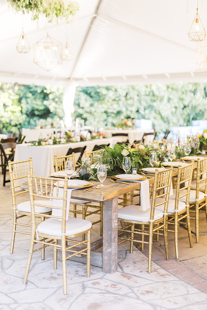 The wedding reception also had a strong Palm Springs feel with lots of tropical greenery and bright blooms