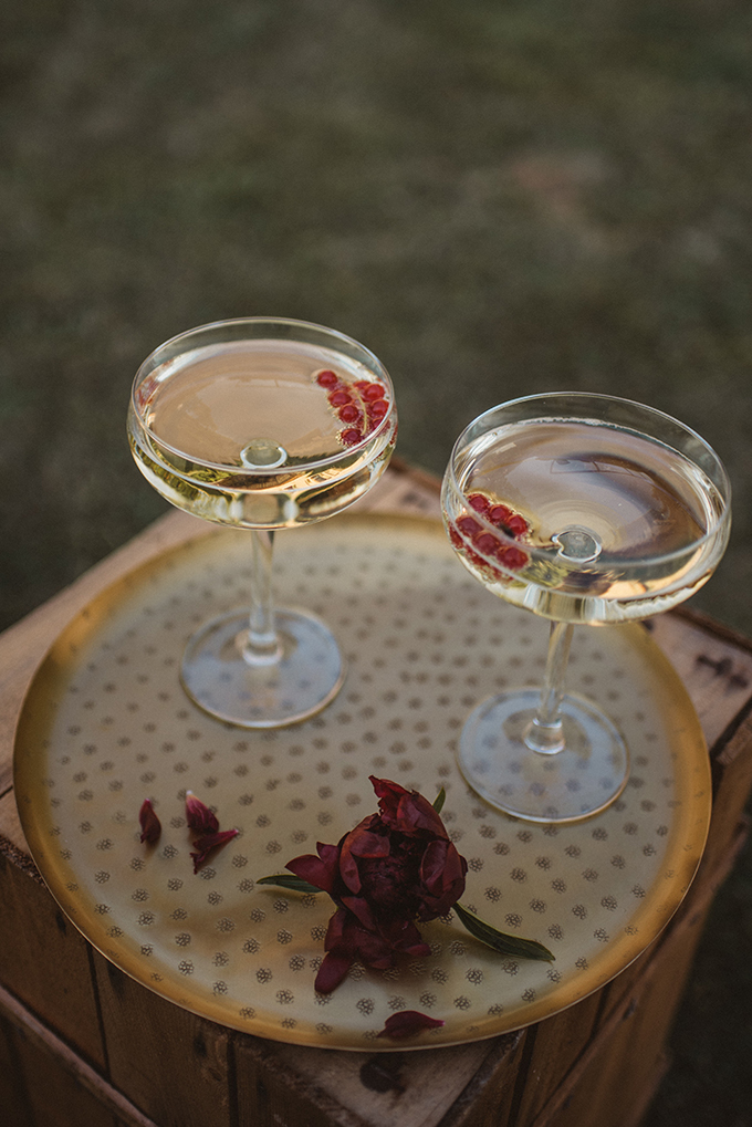 champagne with berries is an awesome wedding drink