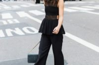 10 black culottes, black heels, a black bandeau top, a black peplum see-through top amd a grey bag
