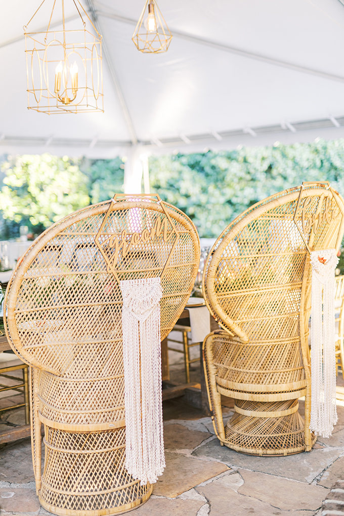 The couple's chairs were peacock ones with hexagons and long fringe