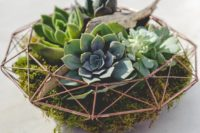 11 a chic geometric terrarium with moss, driftwood and succulents makes up a modern and bold wedding centerpiece