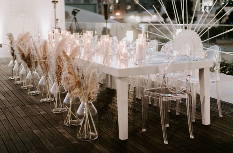 The sweetheart table was marked with pampas grass decor