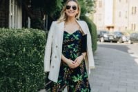14 a moody botanical print jumpsuit with culottes, trendy slingbacks and a black clutch plus a b neutral blazer