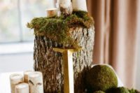 14 a woodland wedding centerpiece with a tree stump, moss balls and birch candle holders