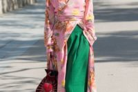 15 a pink floral kimono, apple grene wideleg pants, matching shoes and a bright emberoidered bag