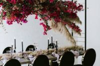 20 a suspended bougainvillea floral and pampas grass overhead centerpiece for a modern chic wedding reception