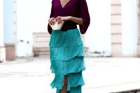 22 a catchy color block wedding guest outfit with a purple blouse, a turquoise fringe midi, a black belt and metallic shoes