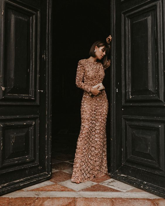 Picture Of A Nude Maxi Beaded And Embroidered Wedding Guest Dress