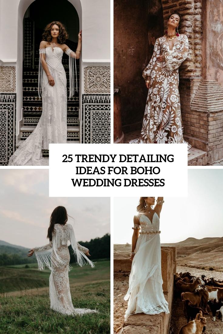 trendy detailing ideas for boho wedding dresses cover