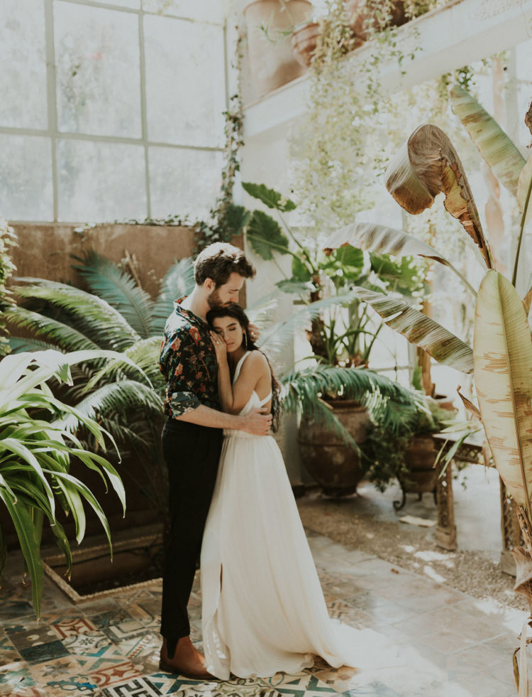 This boho wedding shoot was created in Morocco, with lush greenery and in sunset shades