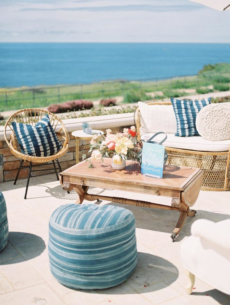 This gorgeous bridal shower space featured an ocean view and was inspired by the Mediterranean coasts