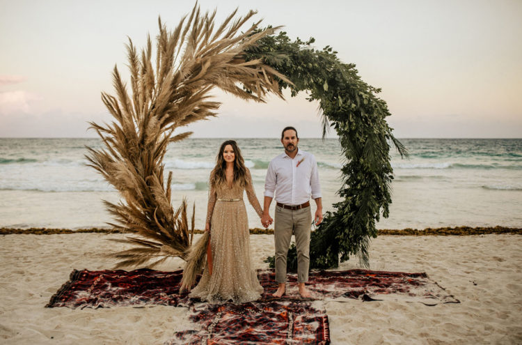 This lovely beach wedding was done in glam and boho style that gave a cool combo
