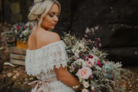 01 This wedding shoot was done in blush, burgundy and sage and featured many boho touches that are so much on trend right now