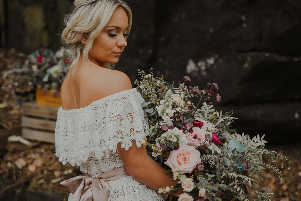 This wedding shoot was done in blush, burgundy and sage and featured many boho touches that are so much on trend right now
