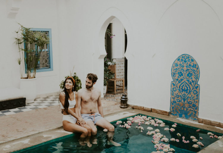 The couple spent some time in a boho Moroccan riad with a pool with floating blooms in it