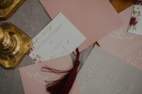 blush and burgundy wedding suite
