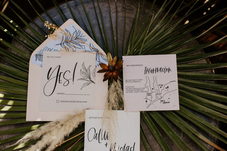 The wedding invitation suite was hand-drawn and stylish, with a modern and boho feel