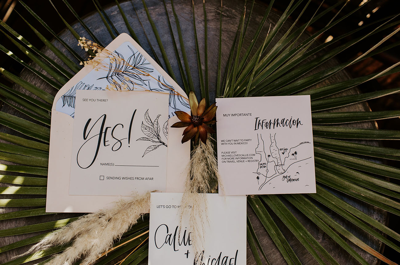 The wedding invitation suite was hand drawn and stylish, with a modern and boho feel