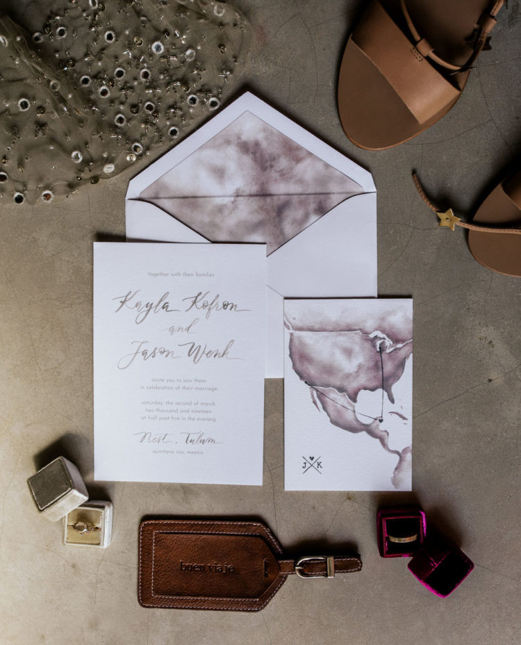 The wedding stationery was done with watercolors and look at the map - it's gorgeous