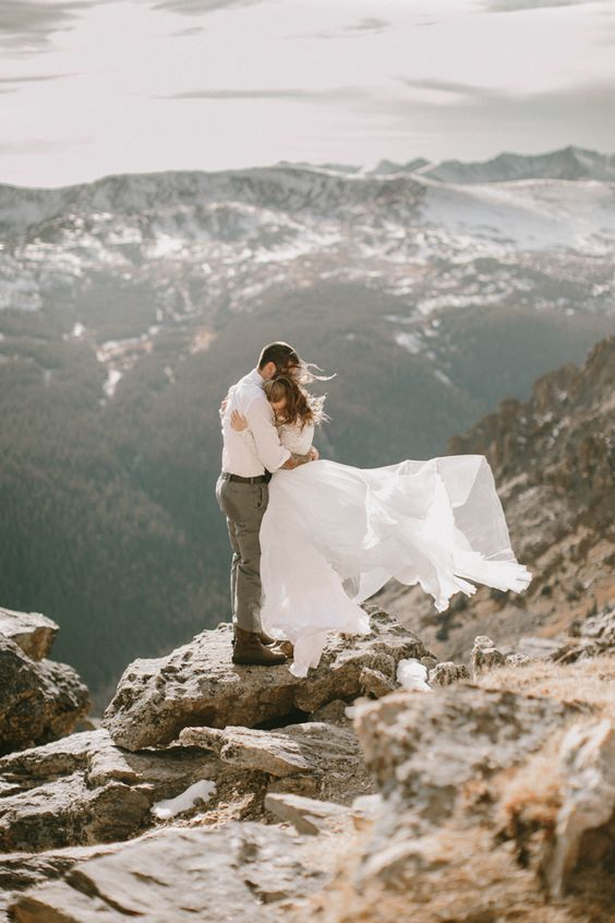 you'll hardly ever find anything more spectacular than mountains, and such elopement pics will wow
