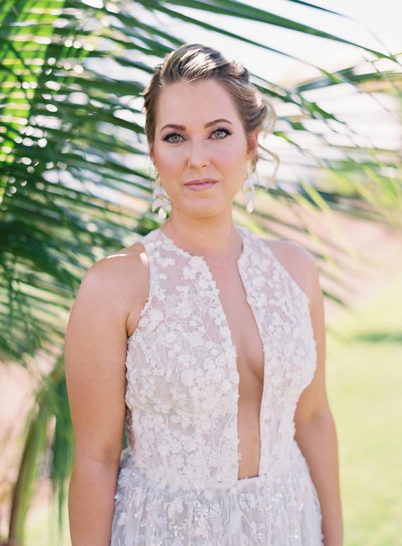 a gorgeous floral applique wedding gown