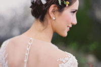 04 a halo braid takes on a whole new look with bright ribbons braided through it and some bright blooms add a fresh touch