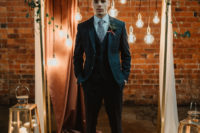 04 a navy windowpane print three-piece suit, a white shirt, a printed tie and brown shoes for a vintage-inspired groom's look