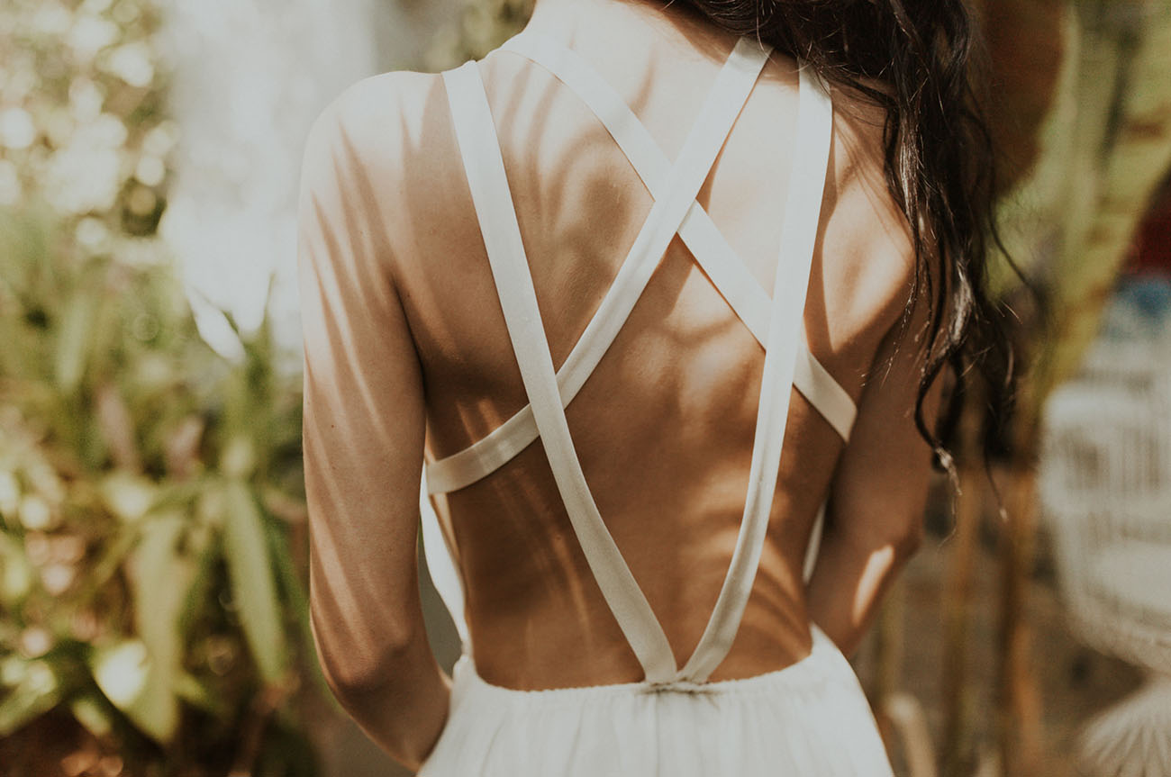 The back of the dress was strappy for a sexy feel and not to feel too hot