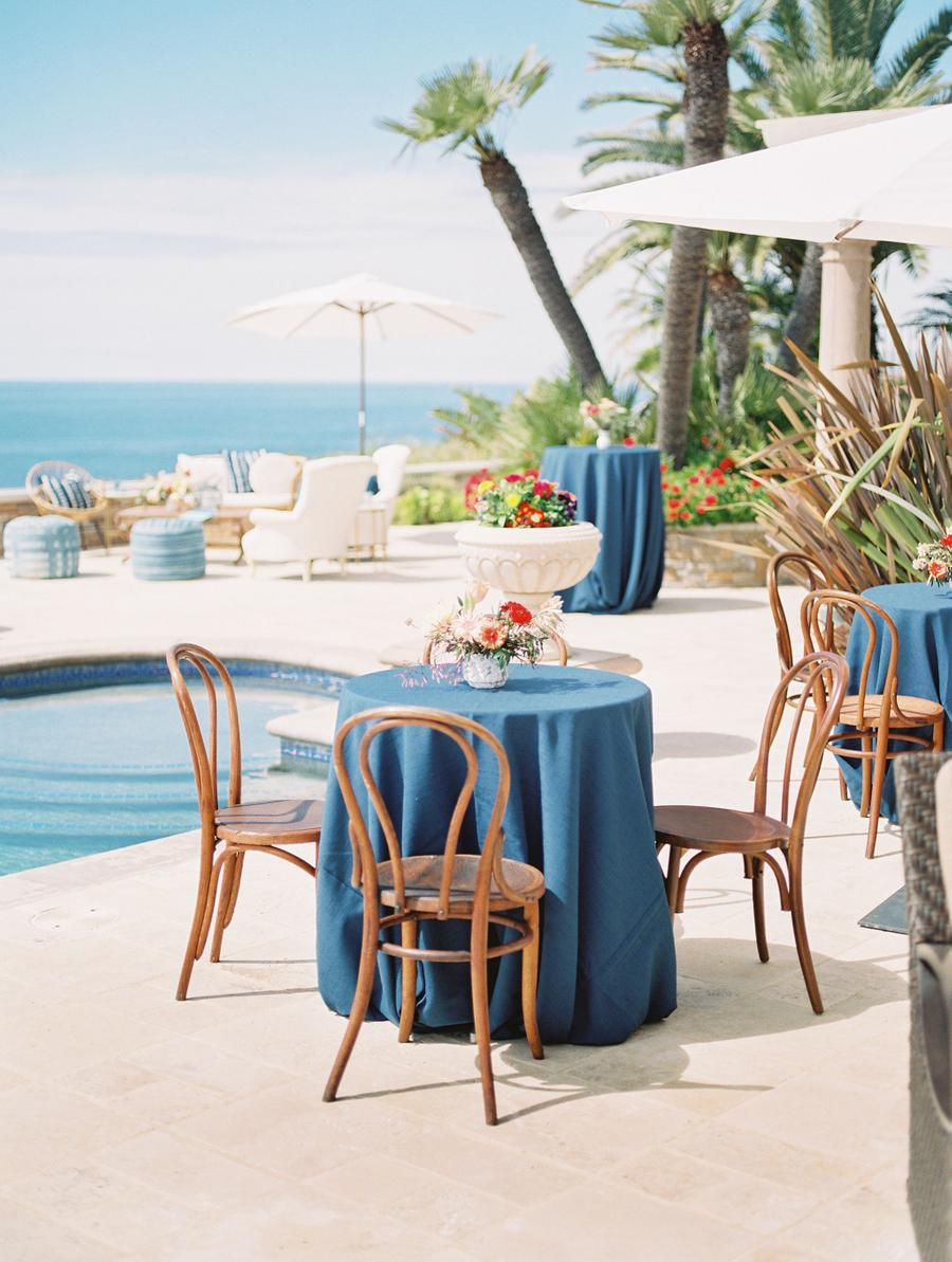 The tables were decorated in blue and with colorful florals, too