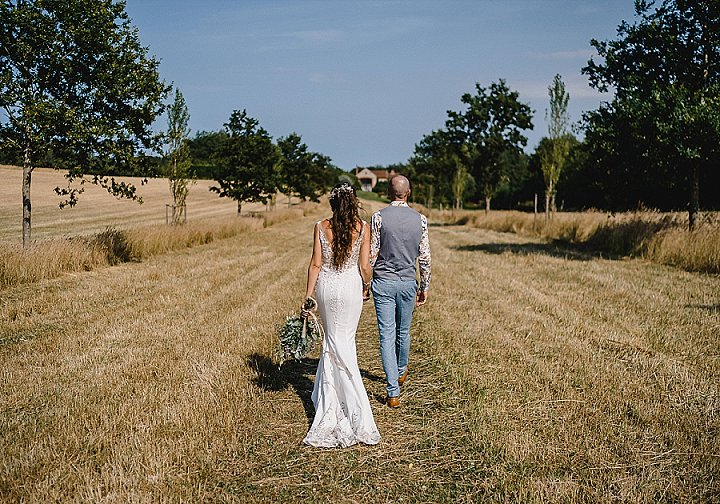 The couple went for a walk in the fields