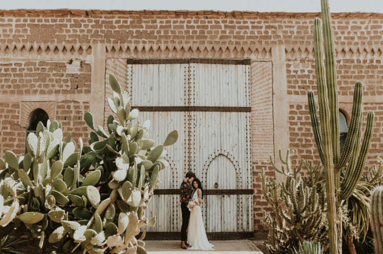 The natural landscape of Morocco is a cool backdrop for your wedding portraits