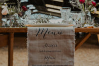 08 The wedding table runner was a linen one with a menu printed on it