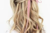 08 a wavy half updo with a pink velvet ribbon bow for an accent is a very girlish and sweet idea for a bride