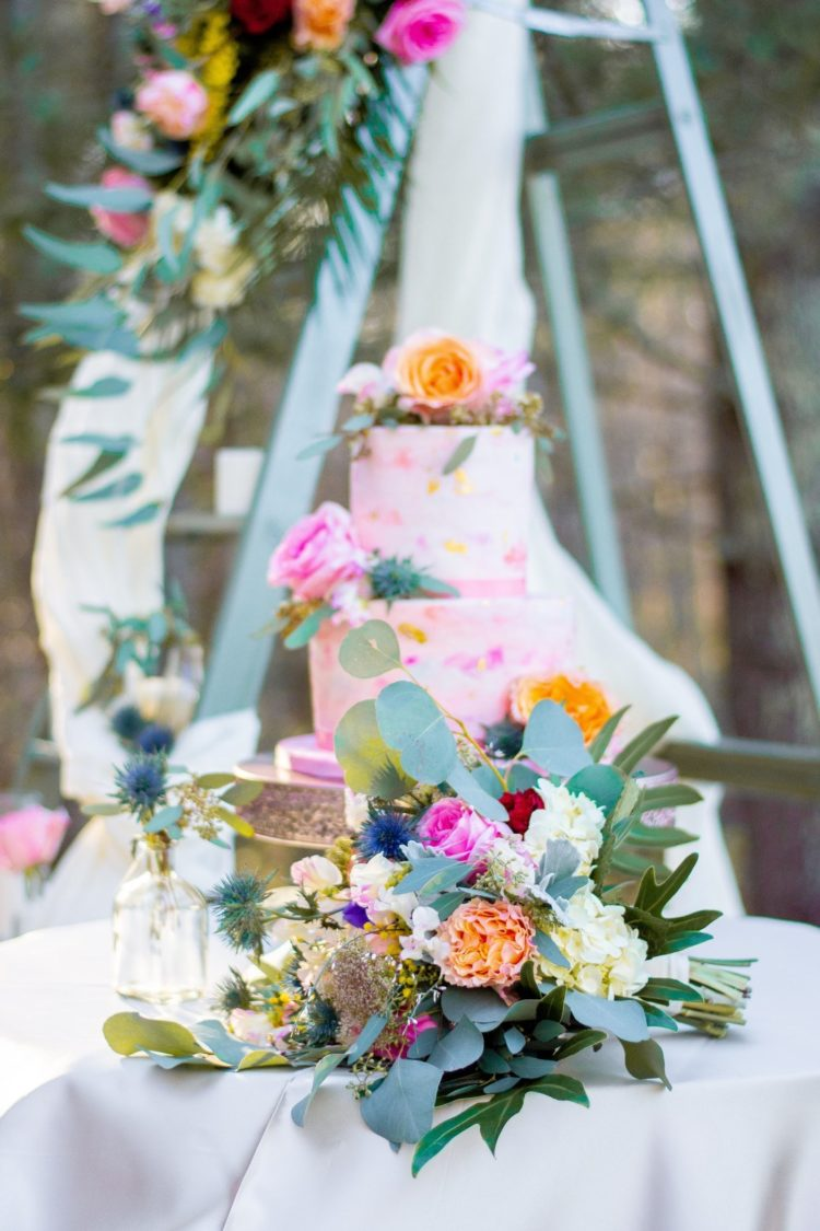 The wedding bouquet was super bright and lively, just like all the rest of the decor around