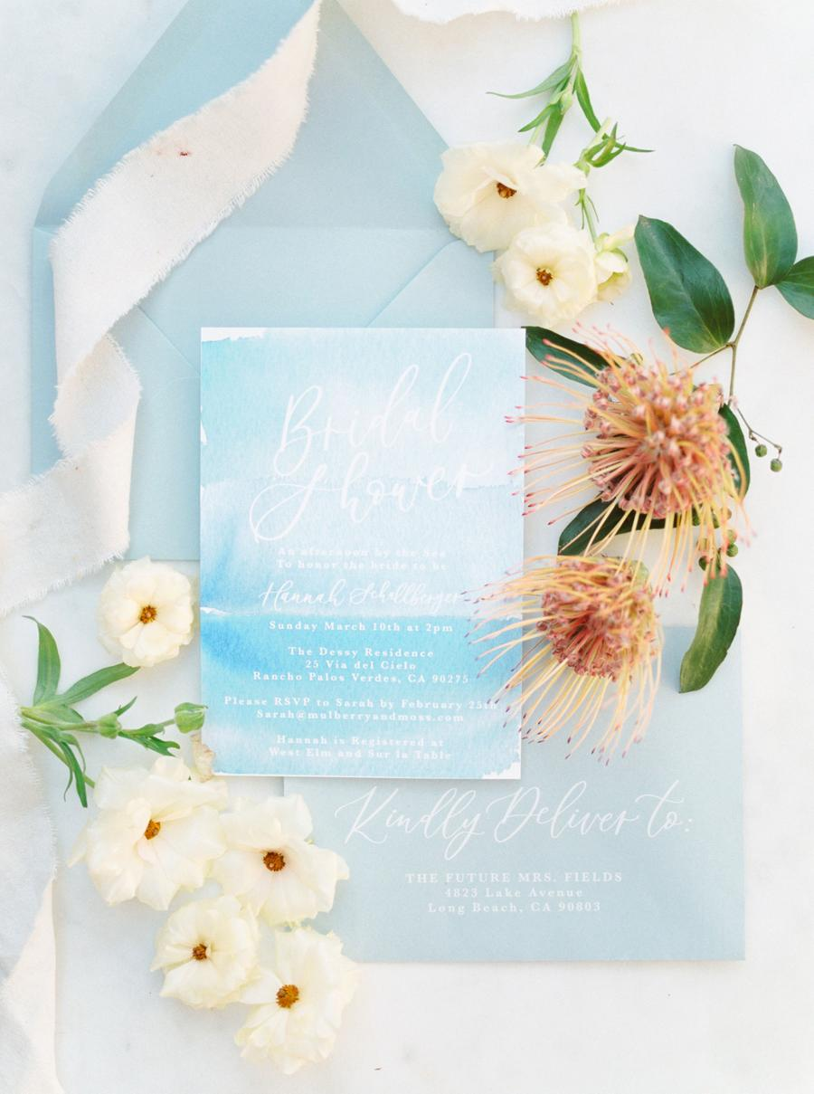 The wedding stationery was done in light and bright blues with much watercolor