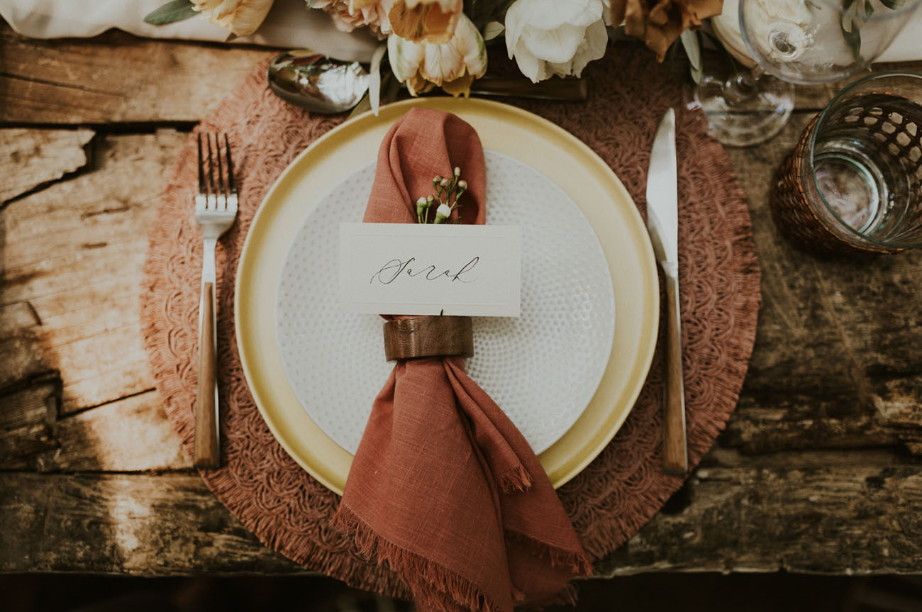 Those dusty pink and rusty shades created a sunset feel at the table
