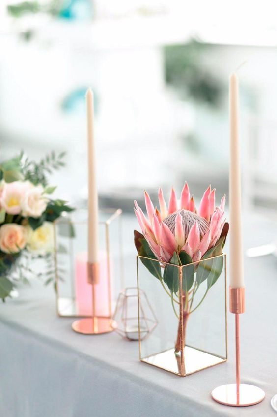a single king protea inserted into a geometric candle holder and some candles in taller candle holders