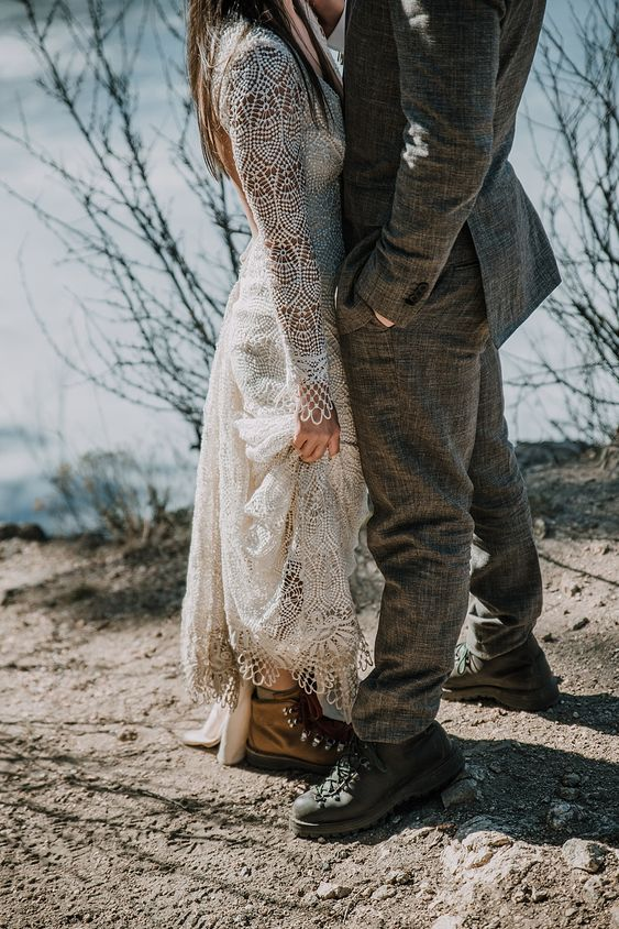 you both can wear comfy boots with your wedding outfits and make them a special touch to your attire