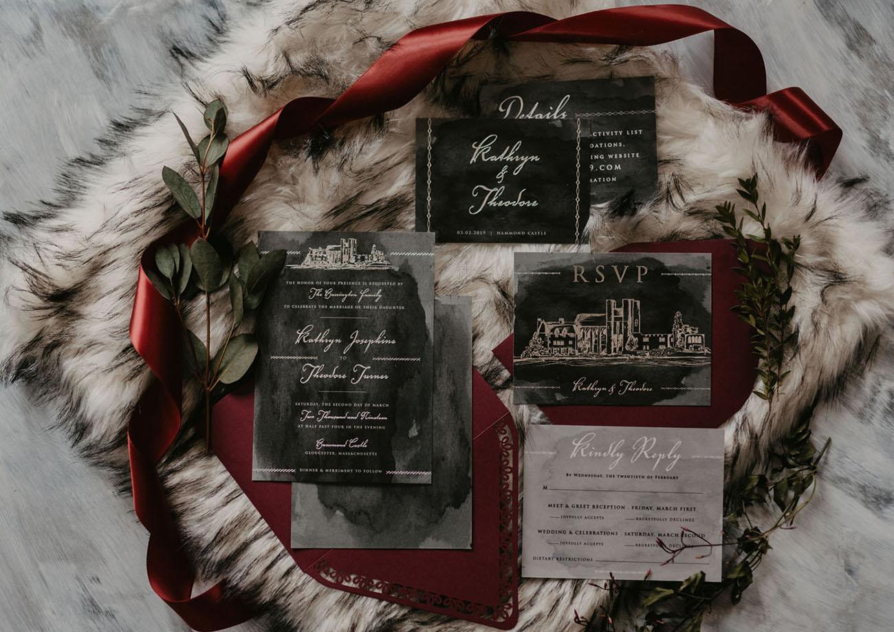 moody goth wedding table stationary