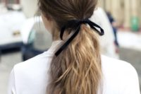 25 textured ponytails have been a big trend in wedding hair, just add a ribbon for a trendier look