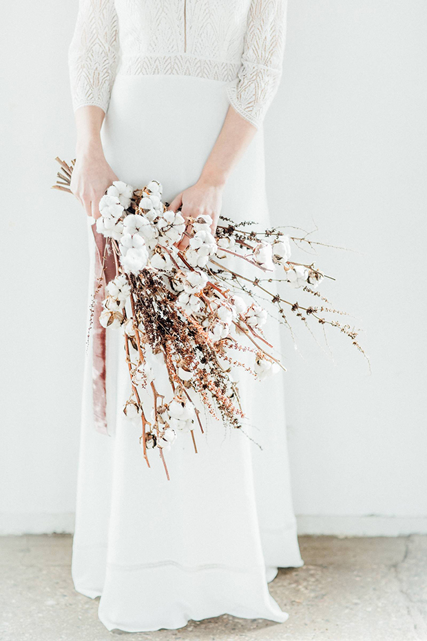 a large and textural wedding bouquet of cotton branches and dried herbs can be easily arranged by you yourself