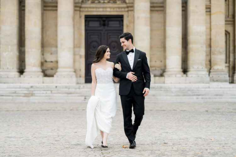 This couple went for a luxurious black tie elopement in Paris with black and gold decor